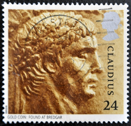 UNITED KINGDOM - CIRCA 1993: A stamp printed in Great Britain shows image of Claudius, gold coin: Found at Bredgar, circa 1993  photo