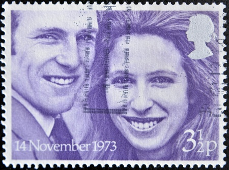 UNITED KINGDOM - CIRCA 1973: A stamp printed in Great Britain shows image celebrating the marriage of Princess Anne and Mark Phillips, circa 1973