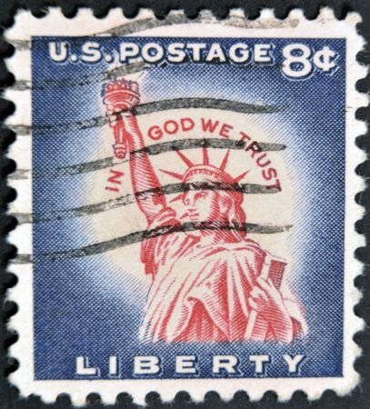 UNITED STATES OF AMERICA - CIRCA 1954:A stamp printed in USA shows image of Statue of Liberty ,series, circa 1954  Stock Photo - 11439051