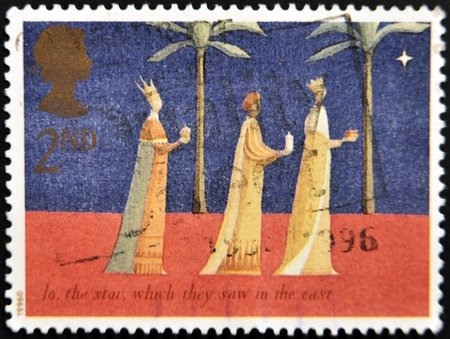 UNITED KINGDOM - CIRCA 1996: A stamp printed in England, shows the Three Kings follow the star, Annunciation, Nativity, circa 1996  Stock Photo - 11439091