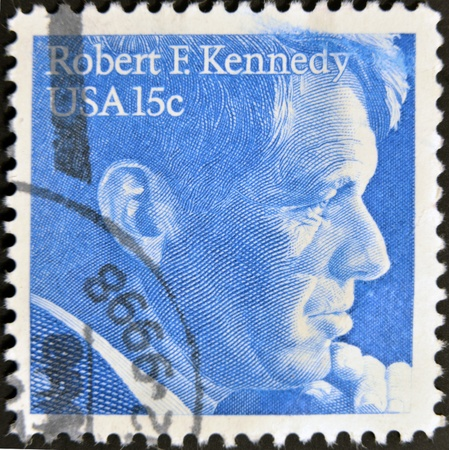 UNITED STATES OF AMERICA - CIRCA 1978: A stamp printed in USA, shows Robert Kennedy, circa 1978 Stock Photo - 11439094