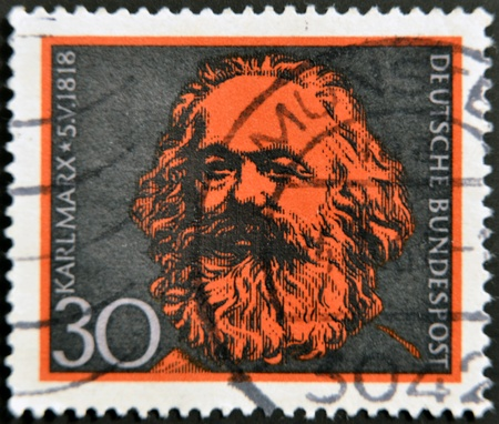 karl: GERMANY - CIRCA 1968: A stamp printed in Germany shows Karl Marx, circa 1968 Stock Photo