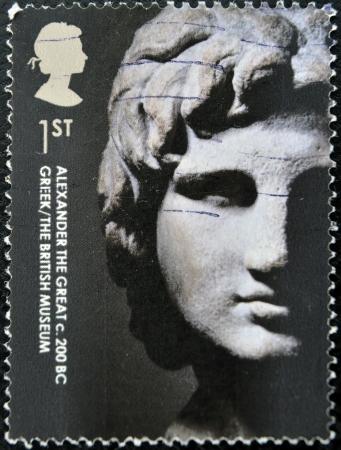 philatelist: UNITED KINGDOM - CIRCA 2003: Ein Stempel in Gro�britannien gedruckt zeigt Alexander den Gro�en, circa 2003 Editorial