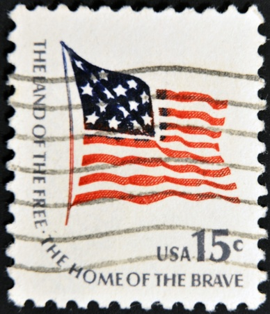 UNITED STATES OF AMERICA - CIRCA 1950: A stamp printed in USA shows image of the dedicated to the American Flag, circa 1950. Stock Photo - 11439097
