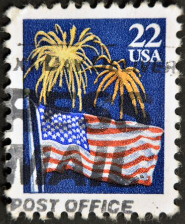 USA - CIRCA 1980: A stamp dedicated to The national flag of the United States of America, circa 1980 Stock Photo - 11439116