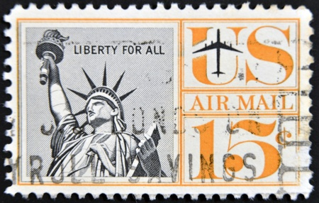 UNITED STATES OF AMERICA - CIRCA 1941: A stamp printed in the USA showing Statue of Liberty, circa 1941  photo