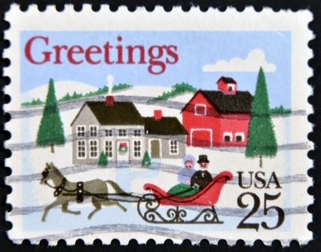horse sleigh: UNITED STATES OF AMERICA - CIRCA 1990: A stamp printed in USA shows The Road-Winter, greetings, circa 1990