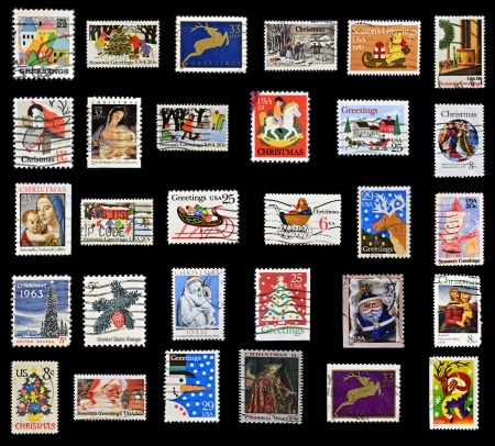 Christmas collection of stamps of the United States photo