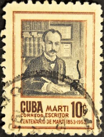 the liberator: CUBA - CIRCA 1955: Un timbro stampato a Cuba mostra Jose Marti, circa 1955 Editoriali