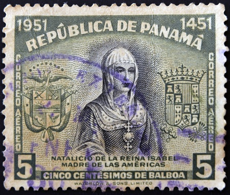 PANAMA - CIRCA 1951: A stamp printed in Panama shows Isabella the Catholic, circa 1951 Stock Photo - 11439138