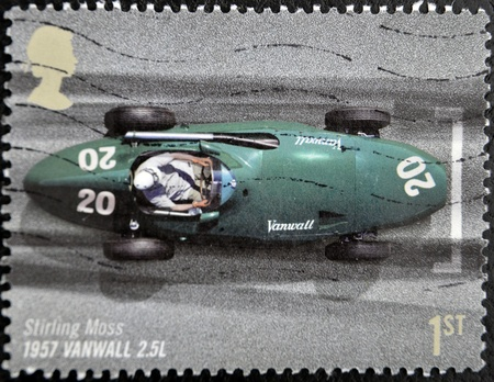 UNITED KINGDOM - CIRCA 2007: A stamp printed in Great Britain in commemoration of the 50th anniversary of the British Grand Prix held at Silverstone, shows Stirling Moss in 1957, Vanwall 2.5L, circa 2007 photo