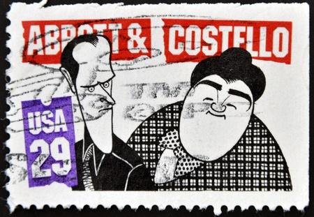 abbott: UNITED STATES OF  AMERICA- CIRCA 1991: A stamp printed in USA shows Abbott and Costello, circa 1991