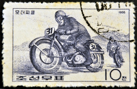 chinese postage stamp: CHINA - CIRCA 1966: A stamp printed in China shows image of Motorbike race, circa 1966 Stock Photo