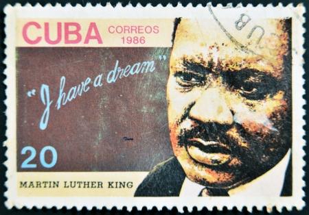 KUBA - CIRCA 1986: Ein Stempel in Kuba gedruckt zeigt Martin Luther King, habe ich einen Traum, circa 1986