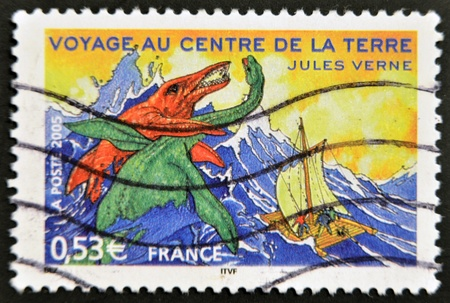 novelist: FRANCE - CIRCA 2005: A stamp printed in France shows an image of Journey to the Center of the Earth, a novel by Jules Verne, circa 2005