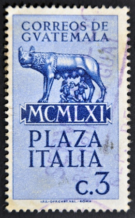 GUATEMALA - CIRCA 1961: A stamp printed in Guatemala shows Capitoline wolf suckled Romulus and Remus, circa 1961 photo