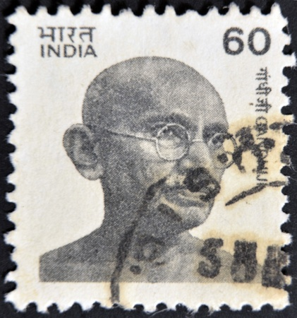 INDIA - CIRCA 1976 : postage stamp printed in India showing Mohandas Karamchand Gandhi, circa 1976  photo