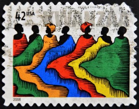 kwanzaa: UNITED STATES OF AMERICA - CIRCA 2008: A stamp printed in USA dedicated ti kwanzaa, circa 2008