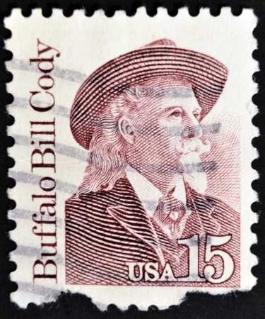 cody: UNITED STATES OF AMERICA - CIRCA 1988 : A stamp printed in the USA shows Buffalo Bill, circa 1988