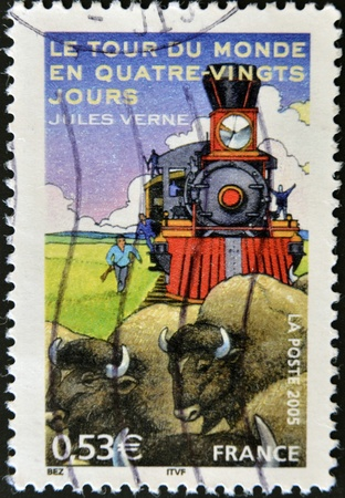 FRANCE - CIRCA 2005: A stamp printed in France shows an image of Around the World in Eighty Days a novel by Jules Verne, circa 2005  photo