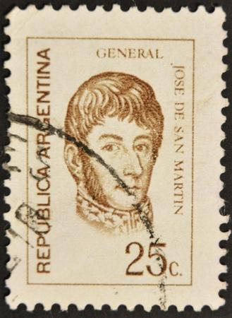 jose de san martin: ARGENTINA - CIRCA 1960: A stamp printed in Argentina shows Jose de San Martin, circa 1960
