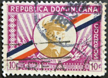 DOMINICAN REPUBLIC - CIRCA 1935: A stamp printed in Dominican Republic shows President Trujillo, circa 1935 photo