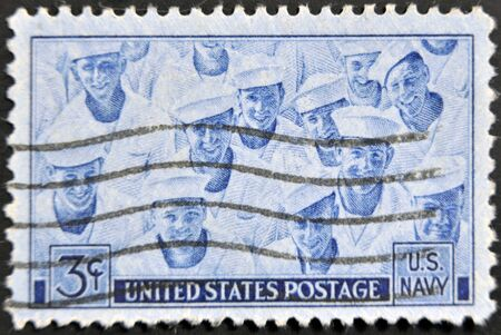 UNITED STATES OF AMERICA - CIRCA 1945: A stamp printed in the USA shows US Navy, circa 1945 Stock Photo - 11439185