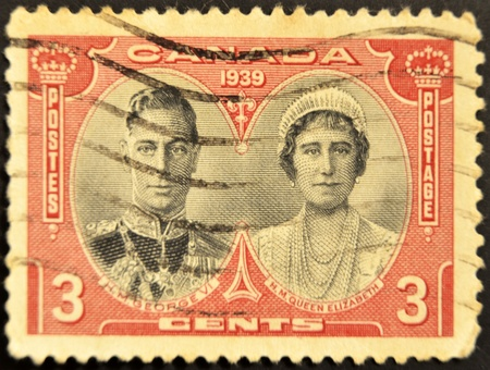 CANADA - CIRCA 1939: A stamp printed in Canada  showing an image of George VI with queen Elizabeth, circa 1939 Stock Photo - 11439198