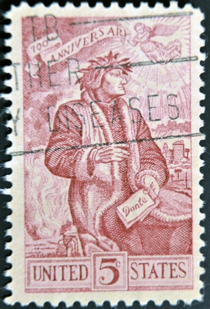UNITED STATES OF AMERICA - CIRCA 1965 : A stamp printed in the USA shows Dante Alighieri, 700th anniversary, circa 1965  photo