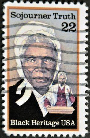 abolitionist: UNITED STATES OF AMERICA- CIRCA 1986: stamp printed in USA, shows Sojourner Truth, abolitionist, black heritage serie, circa 1986