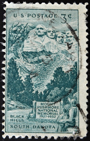 UNITED STATES OF AMERICA - CIRCA 1952: stamp printed in USA, shows Rushmore Memorial, circa 1952.
