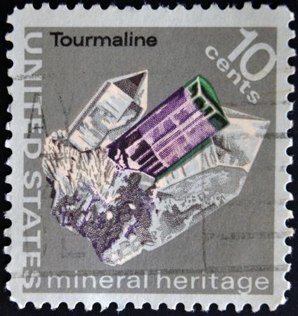 philatelic: UNITED STATES OF AMERICA - CIRCA 1974: A stamp printed in USA shows a cristal tourmaline, series, circa 1974