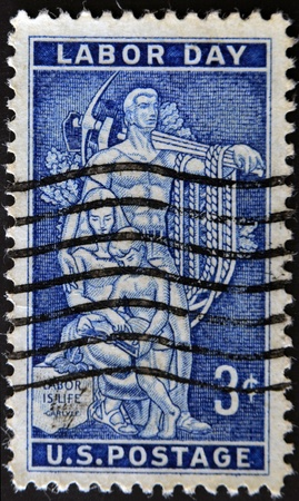 stamp collecting: UNITED STATES OF AMERICA - CIRCA 1956 : A stamp printed in  USA dedicated to Labor Day, circa 1956 Stock Photo