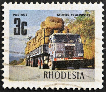 collectible: RHODESIA - CIRCA 1980: A stamp shows image celebrating road transport, circa  1980 Stock Photo