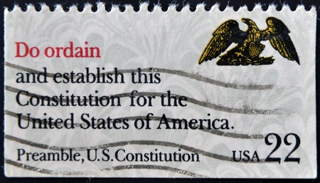 preamble: UNITED STATES OF AMERICA - CIRCA 1980: A stamp printed in USA shows image of the dedicated to the US Constitution circa 1980.