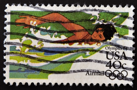 USA - CIRCA 1984 : A stamp printed in the USA dedicated to Olympics 84, swimming, circa 1984