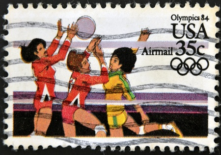 postal office: USA - CIRCA 1984 : A stamp printed in the USA dedicated to Olympics 84, womens volleyball, circa 1984