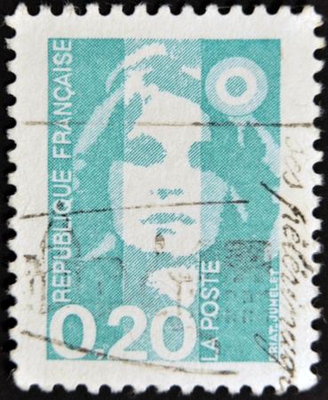 FRANCE - CIRCA 1989: A stamp printed in France, depicts Marianne is a national emblem of France, circa 1989  Stock Photo - 11439192