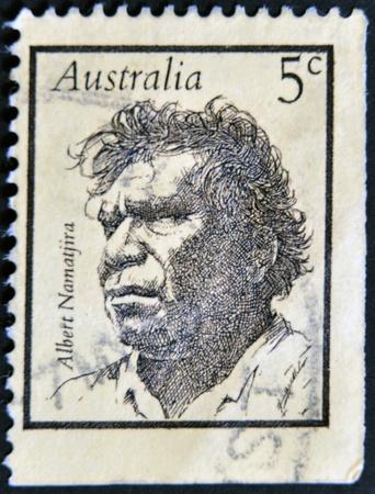 AUSTRALIA - CIRCA 1968: stamp printed in Australia, shows Albert Namatjira, aborigine, circa 1968