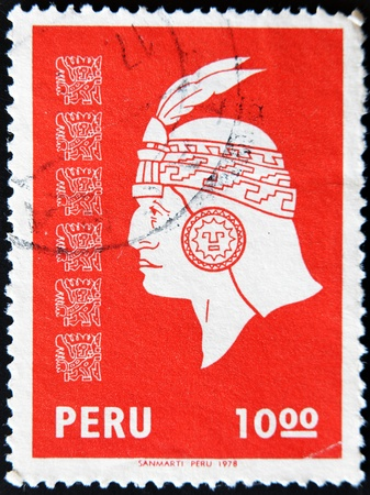 PERU - CIRCA 1978: A stamp printed in Peru shows the face of an Inca Indian, circa 1978 photo