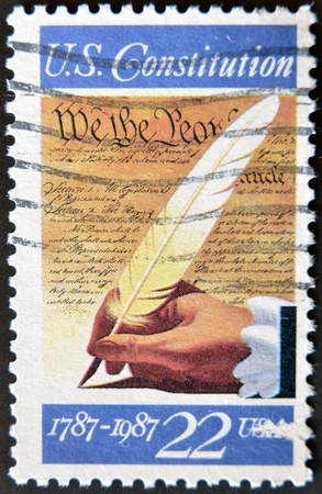 cancelled stamp: USA - CIRCA 1987: A stamp printed in USA shows image of the dedicated to the U.S. Constitution 1787-1987, circa 1987.