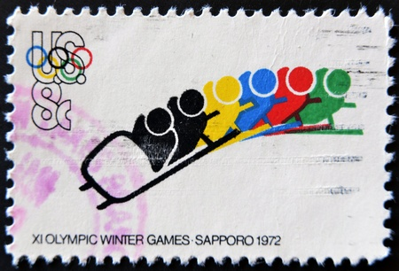 UNITED STATES OF AMERICA - CIRCA 1972 : A stamp printed in the USA shows XI Olympic Winter Games, Sapporo 1972, circa 1972