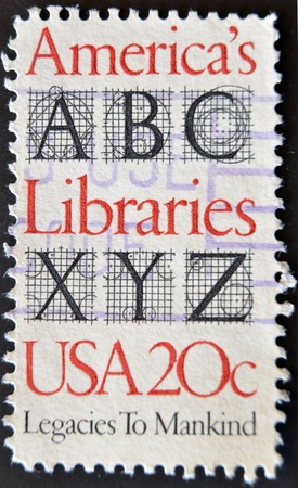 xyz: USA - CIRCA 1982 : A stamp printed in the USA shows America?s Libraries, Legacies to mankind, circa 1982  Stock Photo