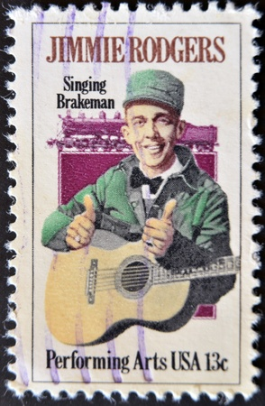 USA - CIRCA 1997 : stamp printed in USA shows Jimmie Rodgers, American country singer, circa 1997 photo