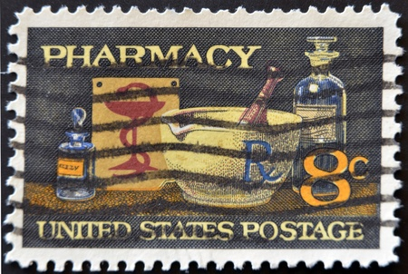 UNITED STATES OF AMERICA - 1972: A stamp printed in USA shows image of typical items in a pharmacy, circa 1972  photo