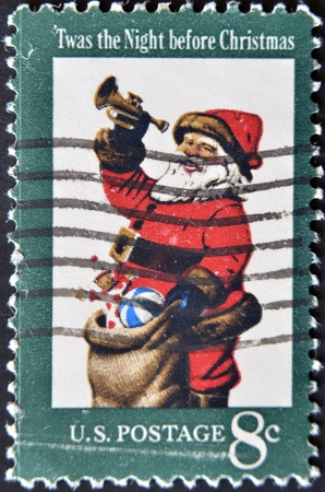 night before christmas: USA - CIRCA 1972: The first U.S. Christmas postage stamp to show Santa Claus; Twas the Night before Christmas, circa 1972