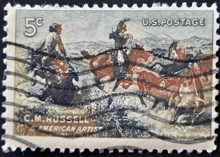 western united states: UNITED STATES - CIRCA 1964: Stamp printed in USA, shows Jerked Down by Charles M. Russell, circa 1964  Stock Photo