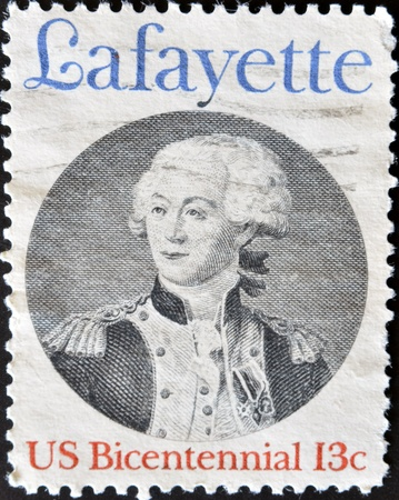 UNITED STATES - CIRCA 1977: stamp printed by United states, shows lafayette, circa 1977  Stock Photo - 11581884