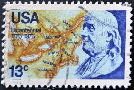 UNITED STATES - CIRCA 1976: stamp printed by United states, shows Benjamin Franklin, circa 1976  Stock Photo - 11581910