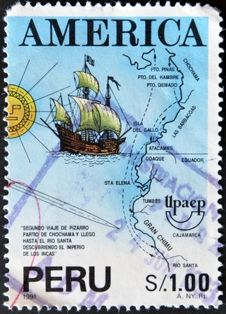 pizarro: PERU-CIRCA 1991:A stamp printed in PERU dedicated to the discovery of America by Columbus shows image of Americas also known as the New World, circa 1991.  Stock Photo